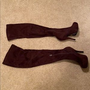 Brown Suede-Like Thigh High Boots Like New